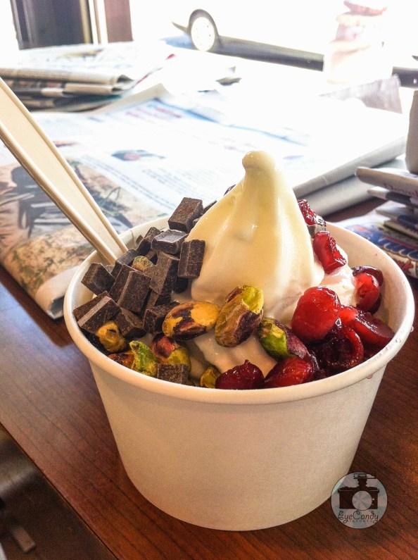 Sweet Flour Bake Shop Frozen Yogurt with Pistachios, Cranberries and Dark Chocolate Chunks